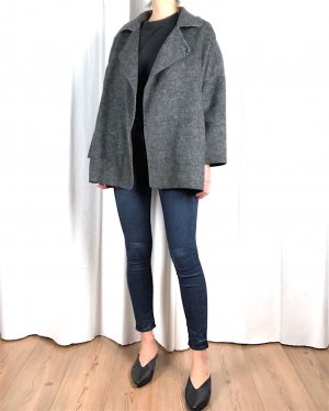 Zara Woman Chaqueta holgada gris oscuro-gris tejido mezclado