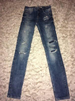 Zara Trafaluc Jeans a vita alta blu fiordaliso-azzurro