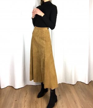 Zara Premium Wildlederrock High Waist Midi Skirt cosy 70er Bohemian Clean Chic Folklore