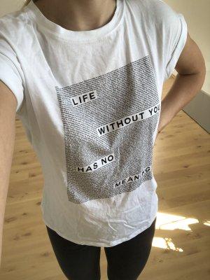 Zara Trafaluc Camiseta estampada blanco-negro