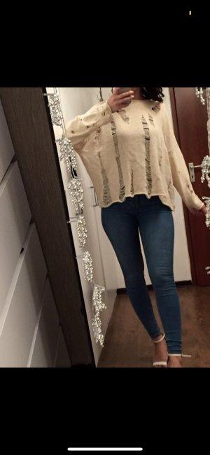 Zara Jersey de punto crema-blanco puro