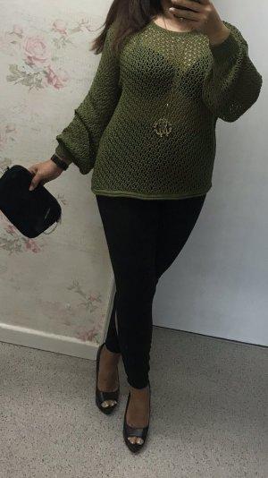 Zara Cardigan en maille fine kaki-vert forêt