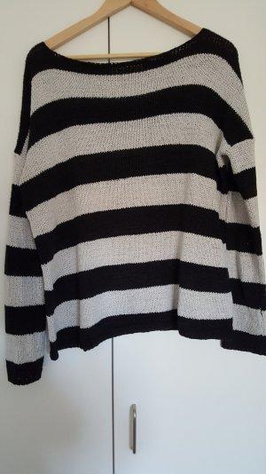 Zara Pulli Oversized schwarz weiß gestreift Gr. S