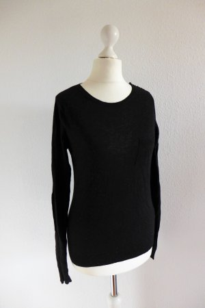 Zara Pulli Pullover Langarm dünn Wolle Alpaka schwarz Gr. 34/36