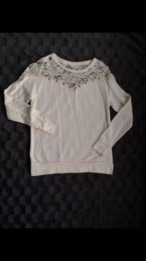 Zara Pulli Shirt longsleeve weiß spitze Gr S
