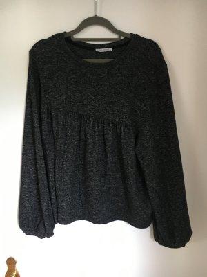 Zara Jersey de cuello redondo negro-gris