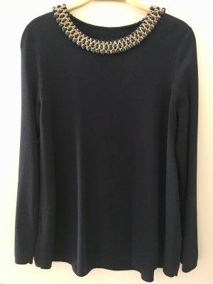 Zara Knit Kraagloze sweater donkerblauw-goud
