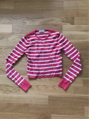 Zara Knit Jersey de cuello redondo blanco rojo claro