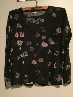 Zara Pullover Blumen grau schwarz M