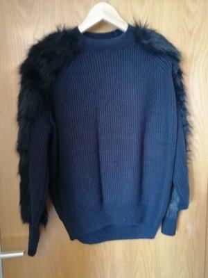 Zara Maglione lavorato a maglia nero-blu scuro