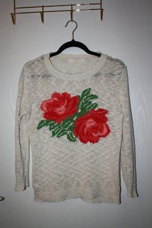 Zara Pullover cremefarben mit Rosen