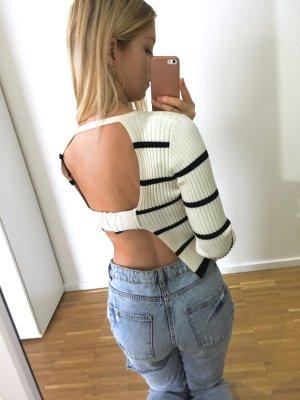 Zara Pullover gestreift S 36 Rückenfrei Crop Top