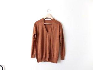 Zara Pullover Gr. M braun rehbraun Baumwolle Strick V ausschnitt oversized