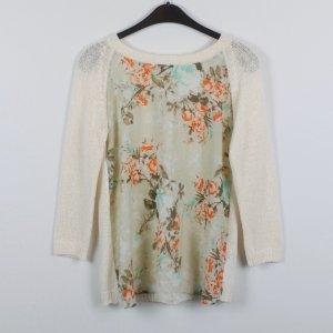 Zara Pullover Gr. S beige/bunt Blumenprint (19/02/113)