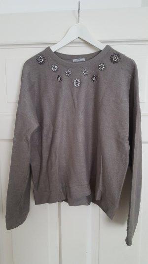 Zara Kraagloze sweater grijs-zilver Katoen
