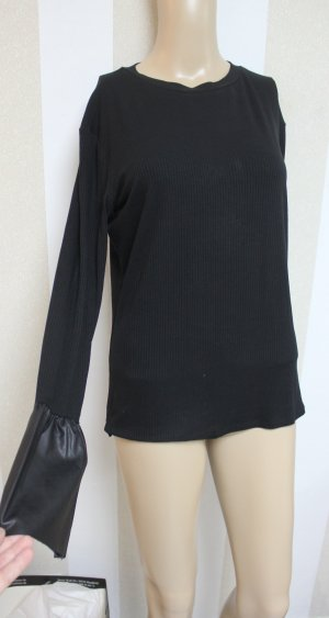 ZARA Pullover mit Leder Ärmel Details Größe L