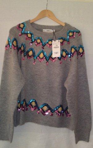 Zara Pullover mit Rauten aus Pailletten Gr. L neu mit Etikett