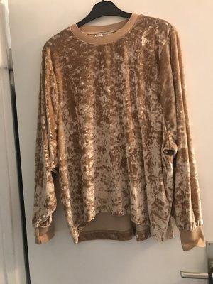 Zara Pullover Samt beige L