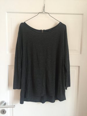 ZARA Pullover Shirt Oberteil Top Pulli Langarm Langarmshirt Grau Kunstleder