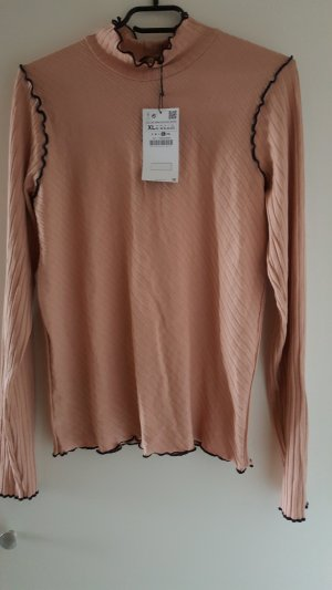 Zara Basic Top rose-gold-coloured