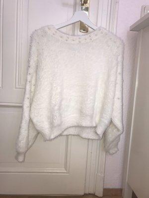Zara Jersey de punto blanco-color plata