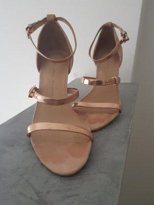 Zara Tacones de tiras color rosa dorado