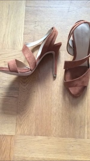 ZARA Pumps Cognac Pleateau Gr. 40