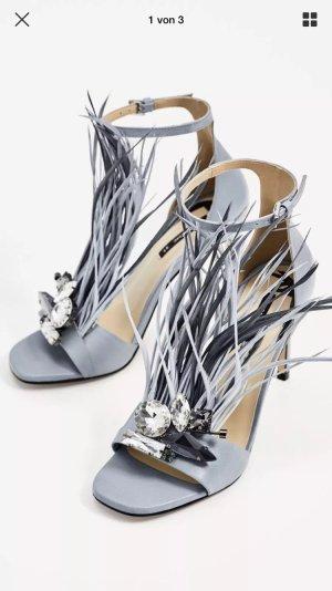 Zara High-Heeled Sandals azure-light grey