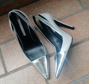 Zara Pumps Gr. 38 Spitze grau silber highheels Spitzpumps business office büro