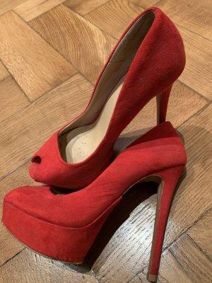 Zara Peep Toe Pumps rood