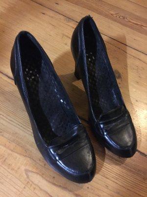 Zara Pumps Leder Optik Gr. 41 College Schuhe breiter Absatz