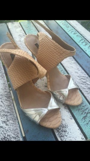 Zara Pumps Nude Metallic blogger hipster highheels Gr. 39