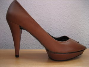 zara pumps peep toes plateau gr. 38 braun neu