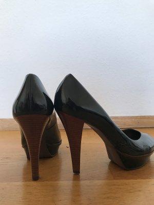 Zara Pumps Peeptoes dunkelgrün Plareau Lackleder khaki Highheels 41