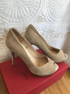 Zara Pumps (Peeptoes) in beige und grau