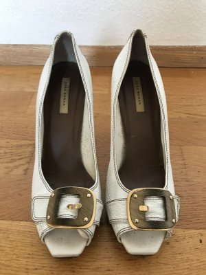 ZARA Pumps Peeptoes XL Schnalle Leder weiß gold