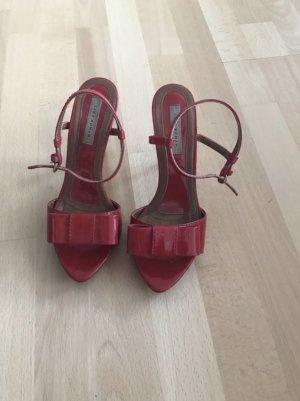 Zara Pumps Sandalen Lackleder Rot 37 Schleife