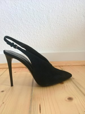 Zara Pumps Schwarz Gr. 41 Sling-Back High-Heels Leder-Look