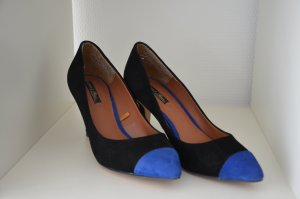 Zara Pumps, schwarz mit blauer Spitze