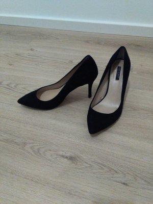zara pumps spitz schwarz 39 wildleder hohe Schuhe high heels