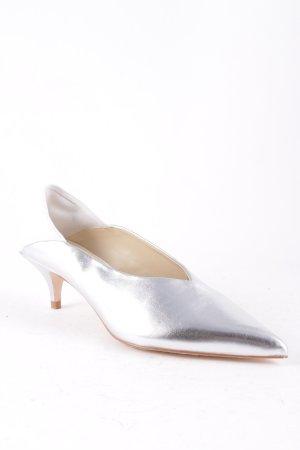 Zara Pumps weiß-silberfarben Elegant