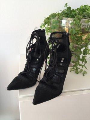 Zara Tacones con cordones negro Gamuza
