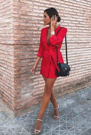 Zara Blazer long rouge fluo