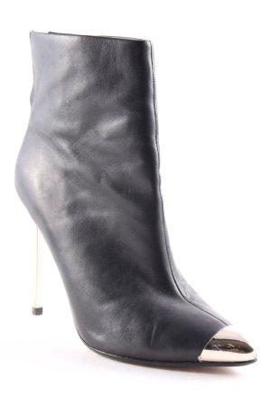 Zara Reißverschluss-Stiefeletten schwarz-silberfarben Metallic-Optik