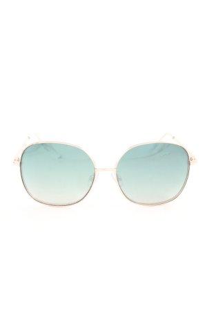 Zara Retro Brille roségoldfarben-dunkelgrün Casual-Look