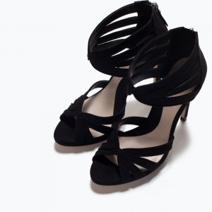 Zara Strapped High-Heeled Sandals black-dusky pink