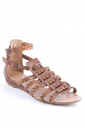 Zara Strapped Sandals cognac-coloured Boho look