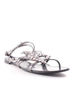 Zara Riemchen-Sandalen grau-silberfarben Casual-Look