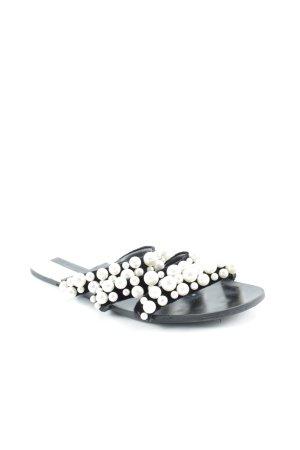 Zara Riemchen-Sandalen schwarz-wollweiß Elegant