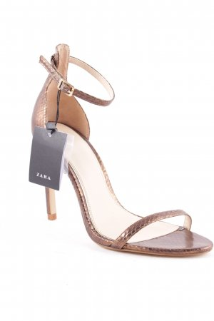 Zara Riemchenpumps bronzefarben Metallic-Optik